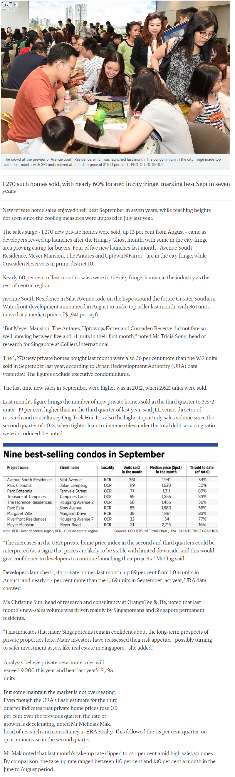 The Woodleigh Residences - New private Home Sales Hit A Hight In September