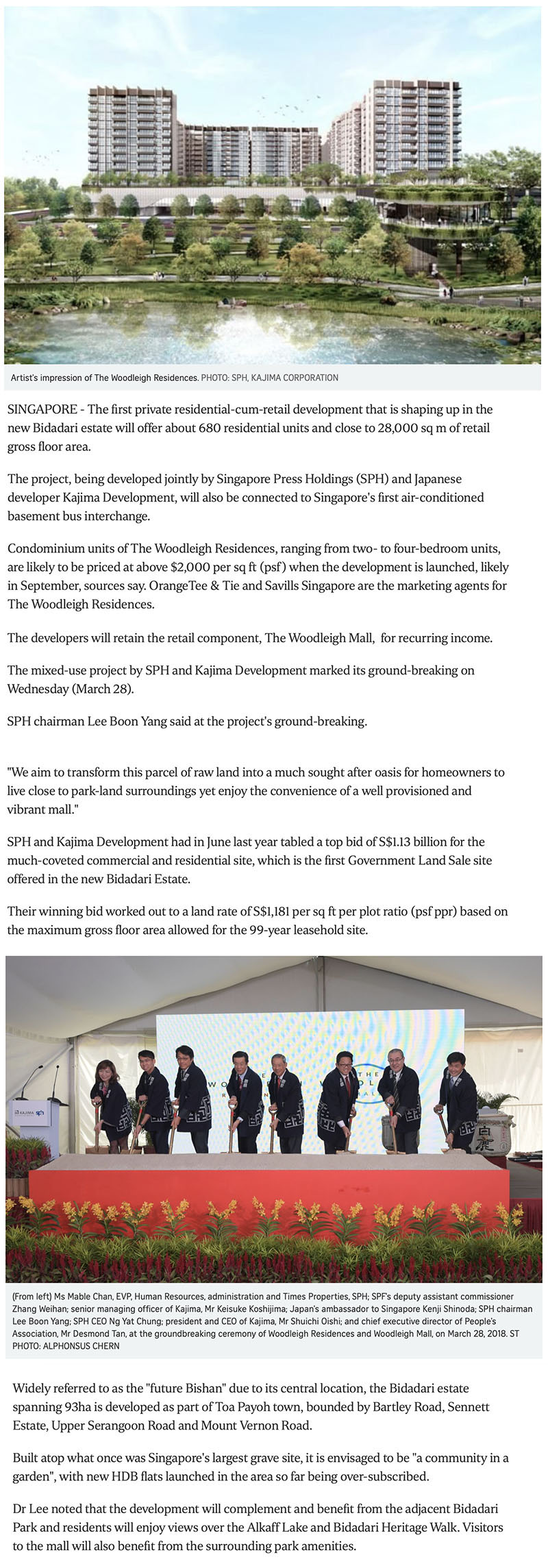 SPH Kajima break ground the woodleigh residences 1