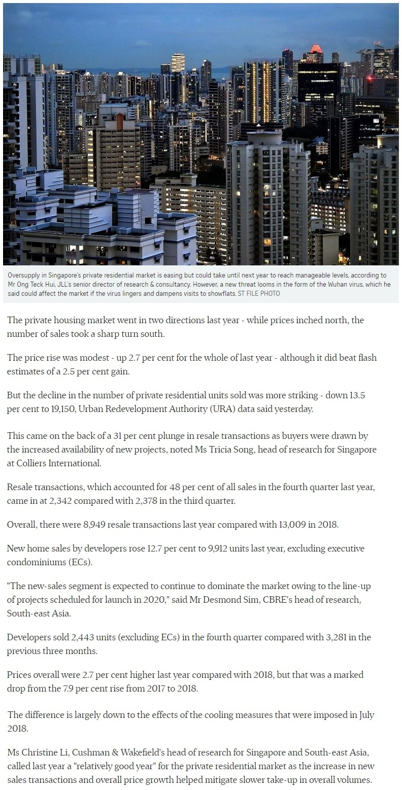 The Woodleigh Residences - Singapore private home prices inch up 2.7% for 2019