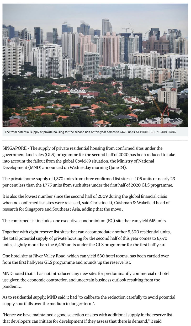 https://www.straitstimes.com/business/property/govt-cuts-private-housing-supply-from-confirmed-land-sale-sites-due-to-covid-19 Part 1
