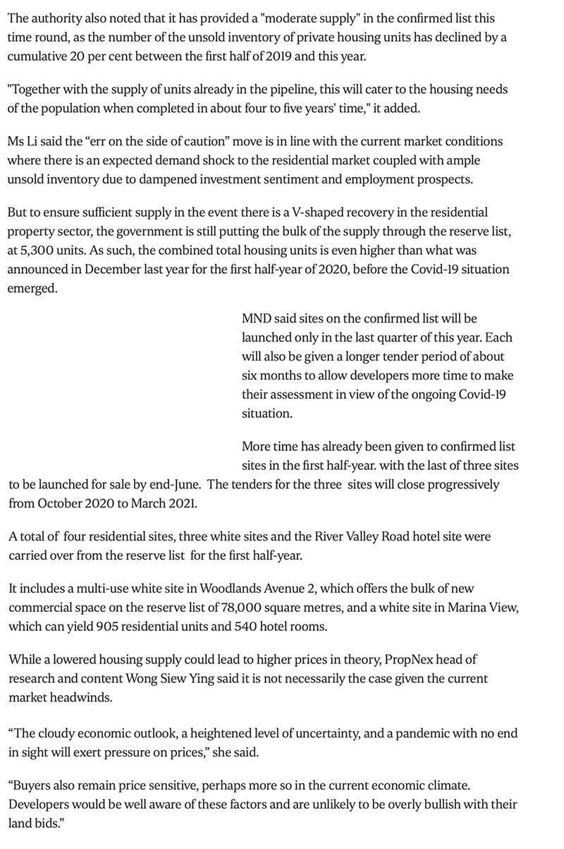 https://www.straitstimes.com/business/property/govt-cuts-private-housing-supply-from-confirmed-land-sale-sites-due-to-covid-19 Part 2