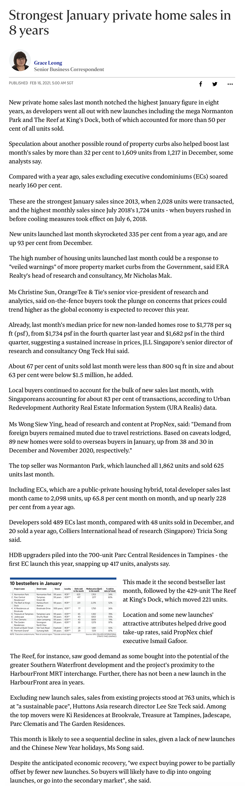 The Woodleigh Residences - Strongest January private home sales in 8 years