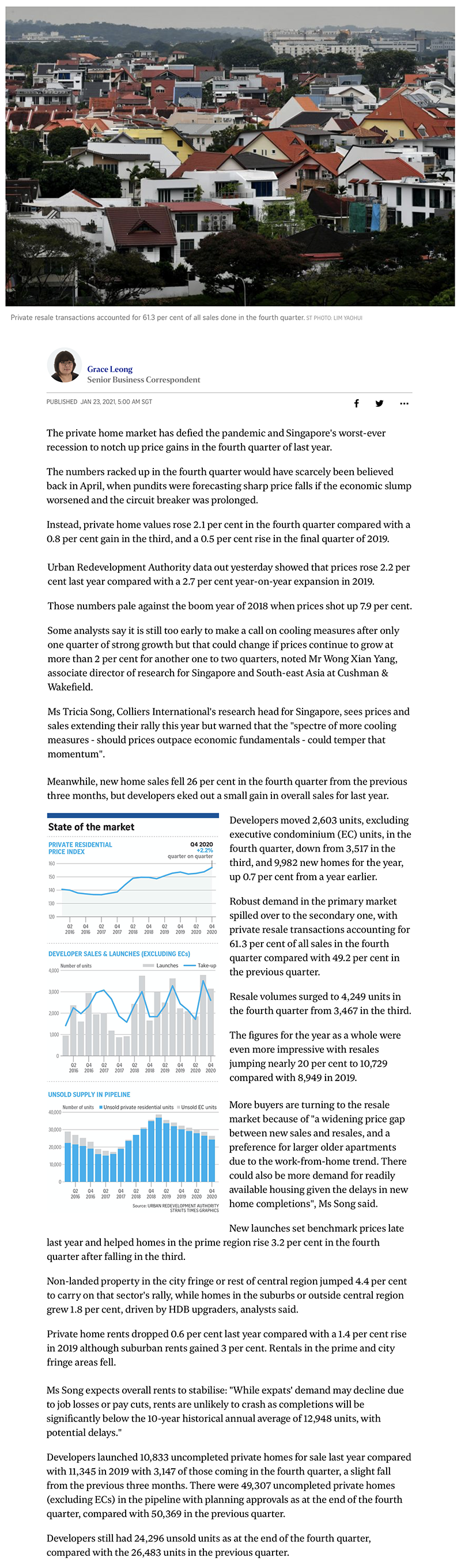 The Woodleigh Residences - Private home sales see robust price gains in fourth quarter